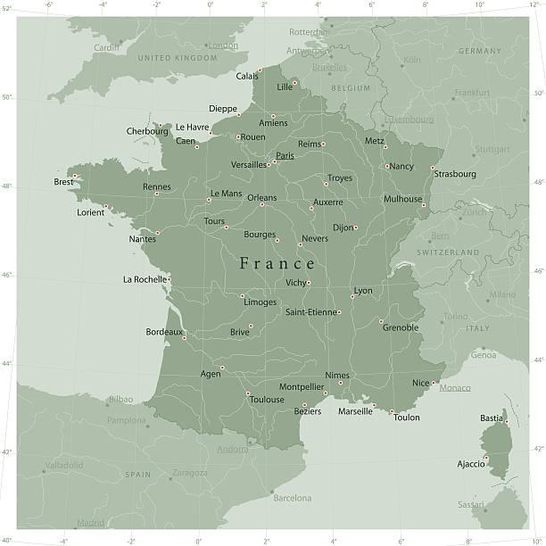 illustrations, cliparts, dessins animés et icônes de france country vector map olive green - nantes