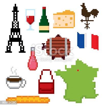 France Culture Symbols Icons Set Pixel Art Old School Computer Stock