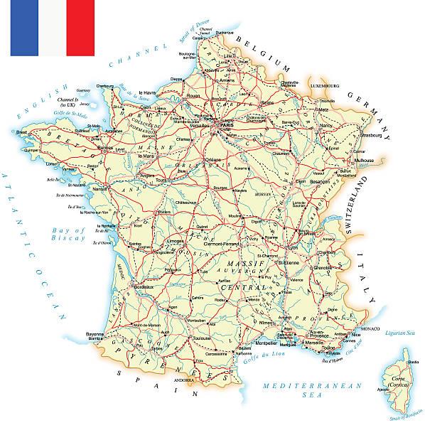 France-plan détaillé-illustration - Illustration vectorielle