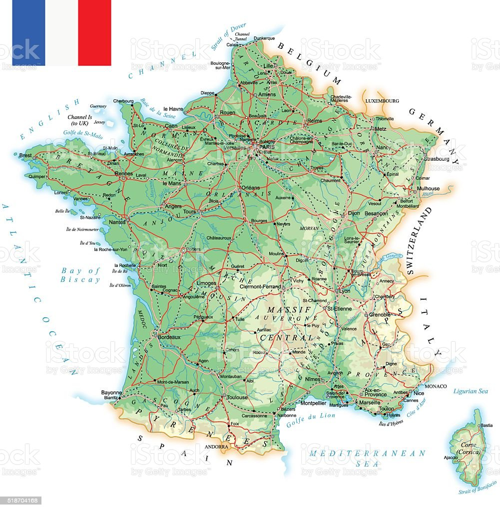 Map Of France Detailed.France Detailed Topographic Map Illustration Stock