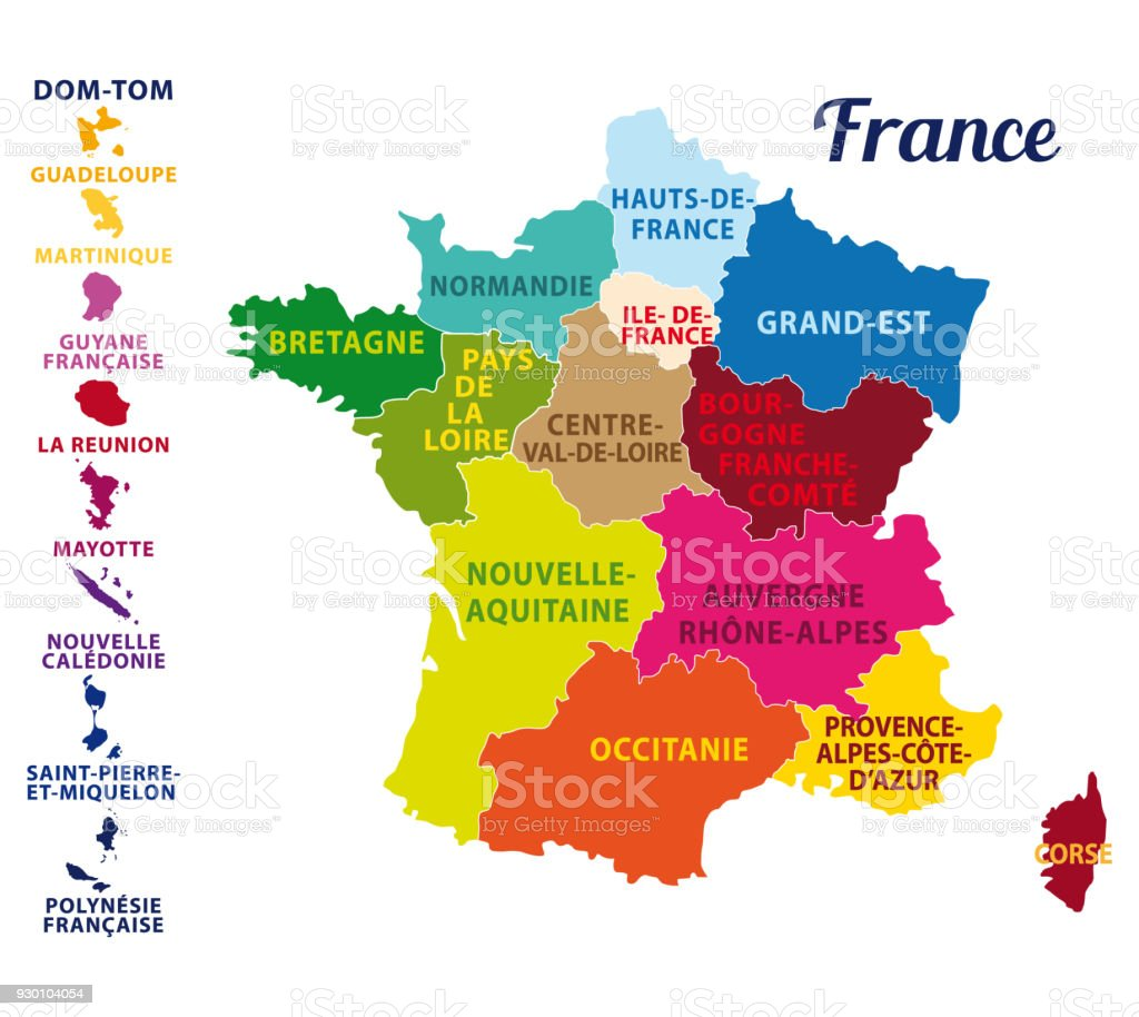 France divided into regions with state capital and regions capitals. Vector illustration. vector art illustration