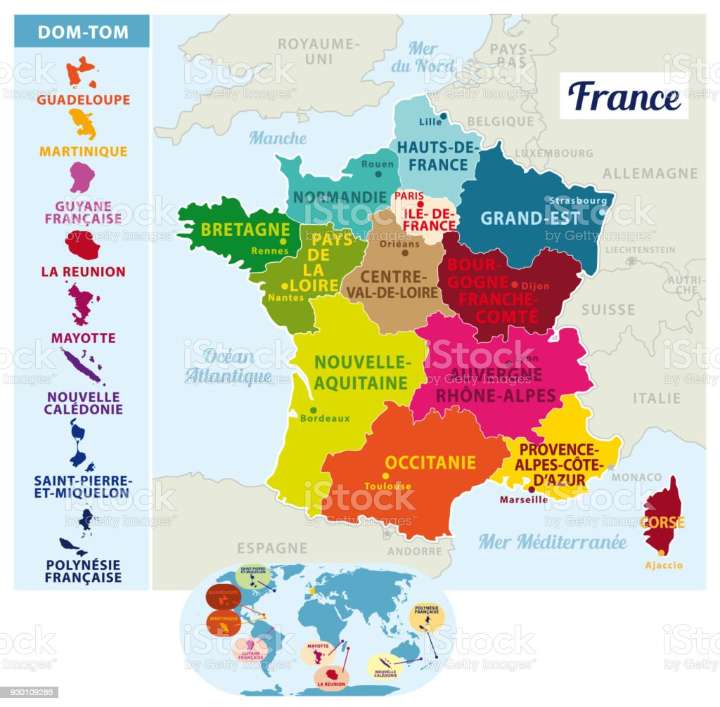Map Of France With States.France Divided Into Regions With States Capital And Regions Capitals