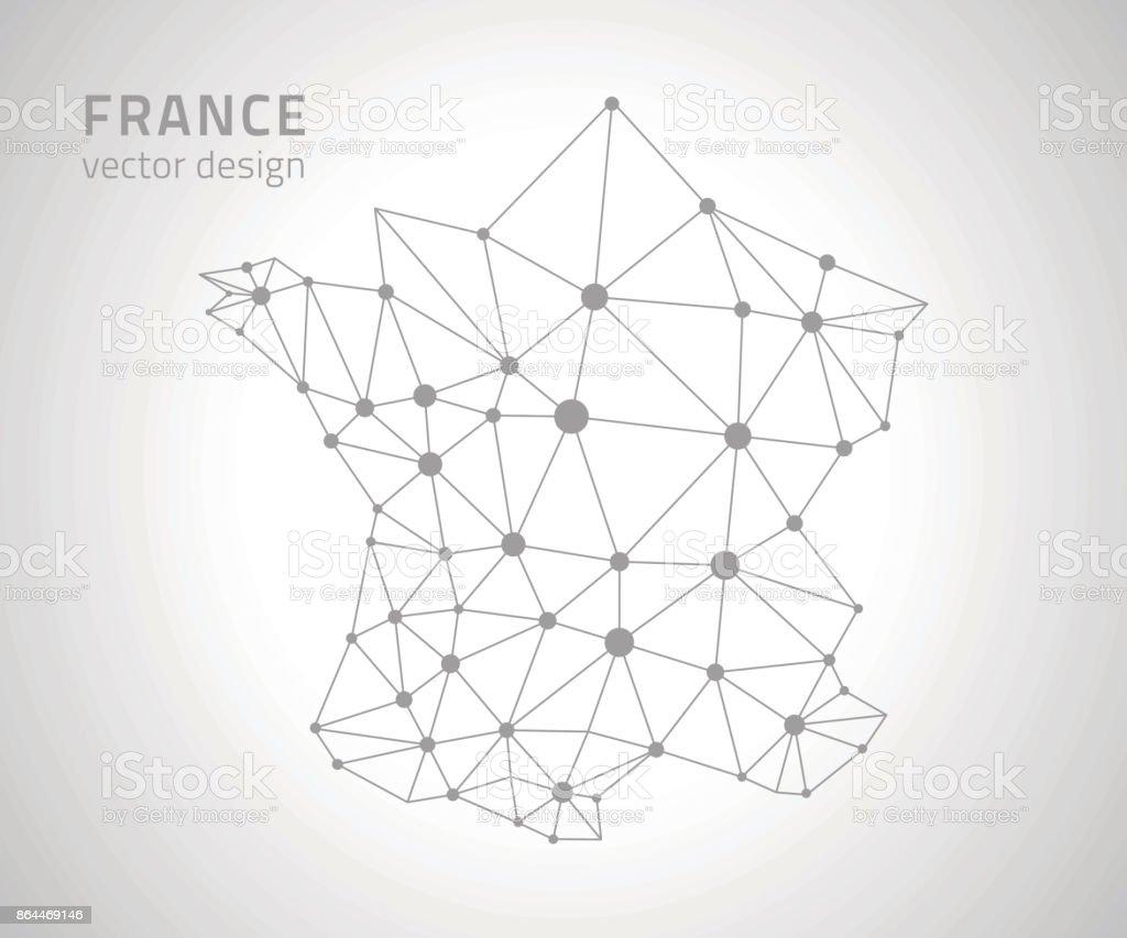France dot grey outline vector polygonal map