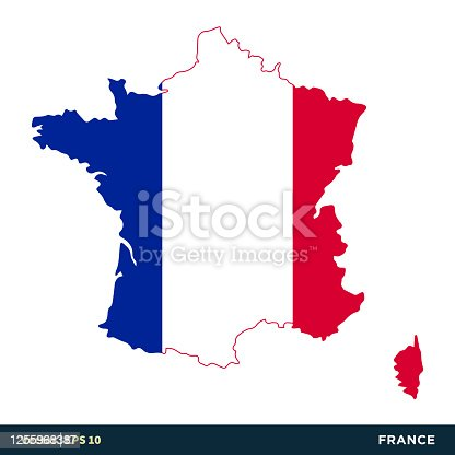 istock France - Europe Countries Map and Flag Vector Icon Template Illustration Design. Vector EPS 10. 1255968387