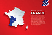 Vector isolated illustration of simplified administrative map and flag  of France. Blue shape of Nouvelle-Aquitaine. Borders of the provinces (regions). Grey silhouettes.