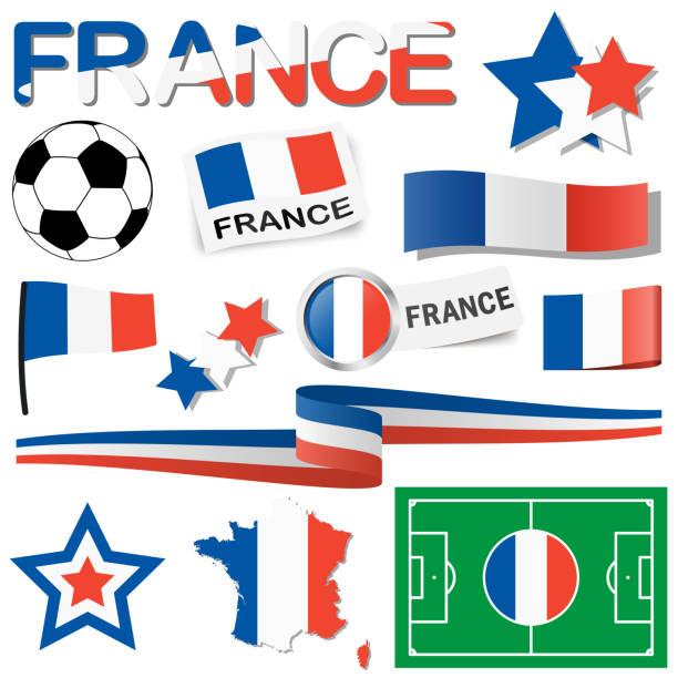 フランス欧州サッカーアイコンのコレクション ベクターアートイラスト
