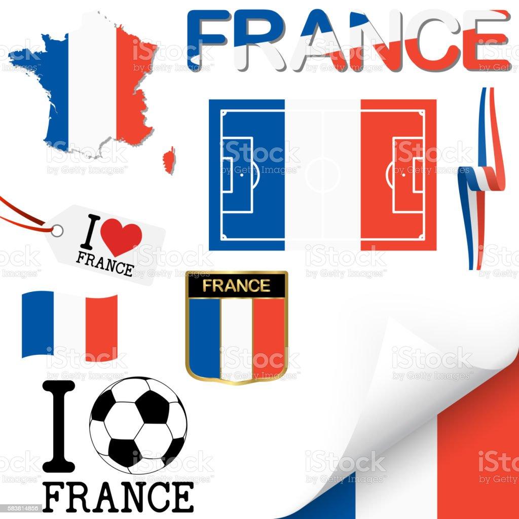 collection d'icônes de football France europe - Illustration vectorielle