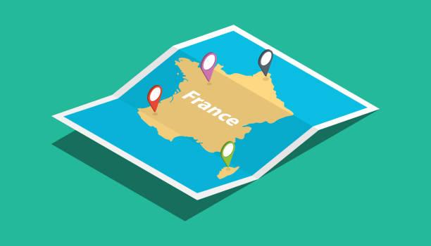 illustrations, cliparts, dessins animés et icônes de france explorer les cartes avec le style isométrique et l'étiquette de localisation broche sur le dessus - carte france