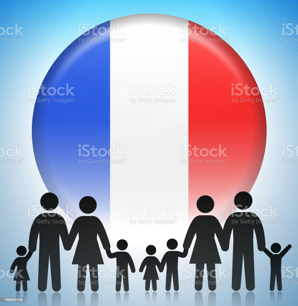 France Family Concept Stick Figures royalty-free stock vector art