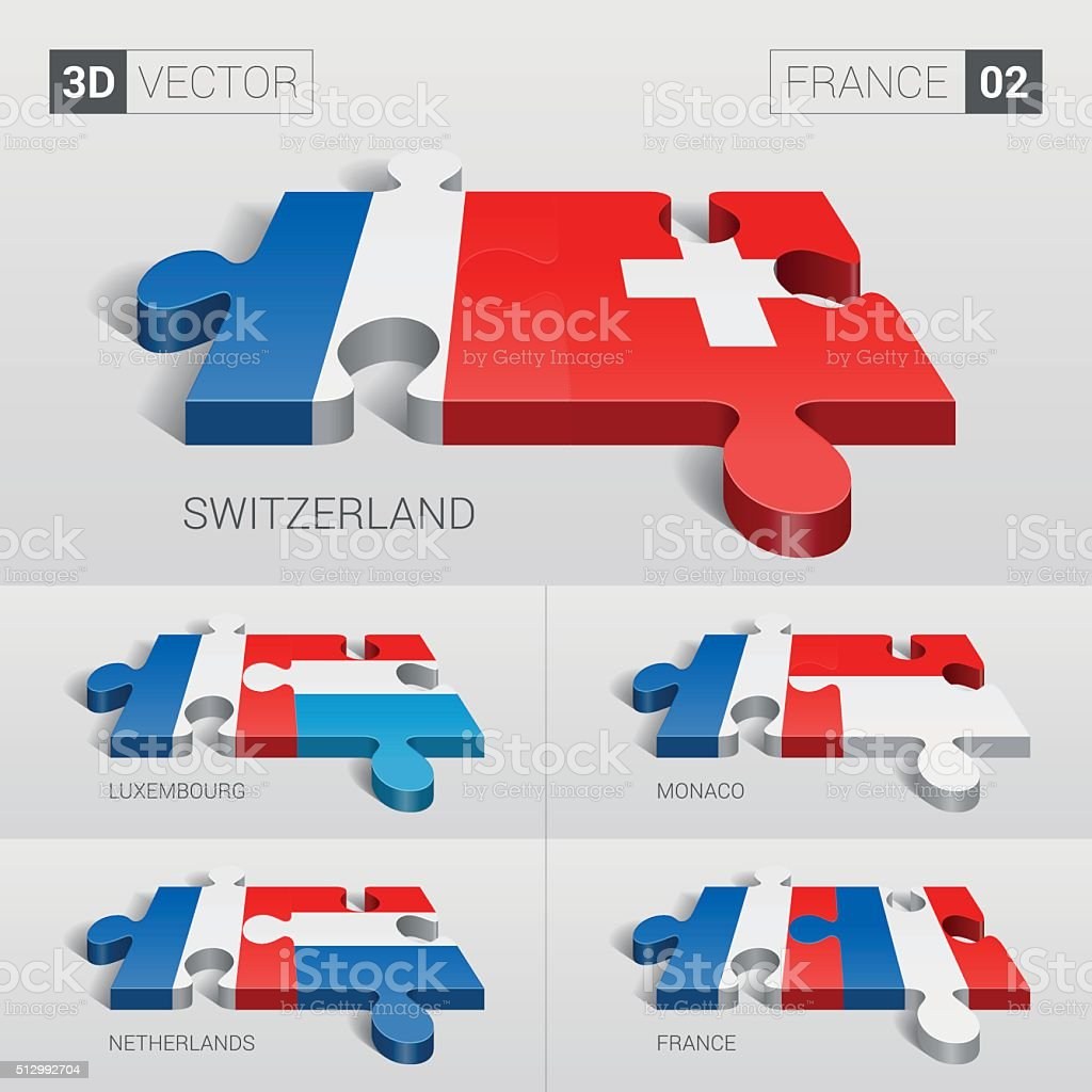 France Flag. 3d vector puzzle. Set 02. vector art illustration