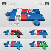 France Flag. 3d vector puzzle. Set 28.