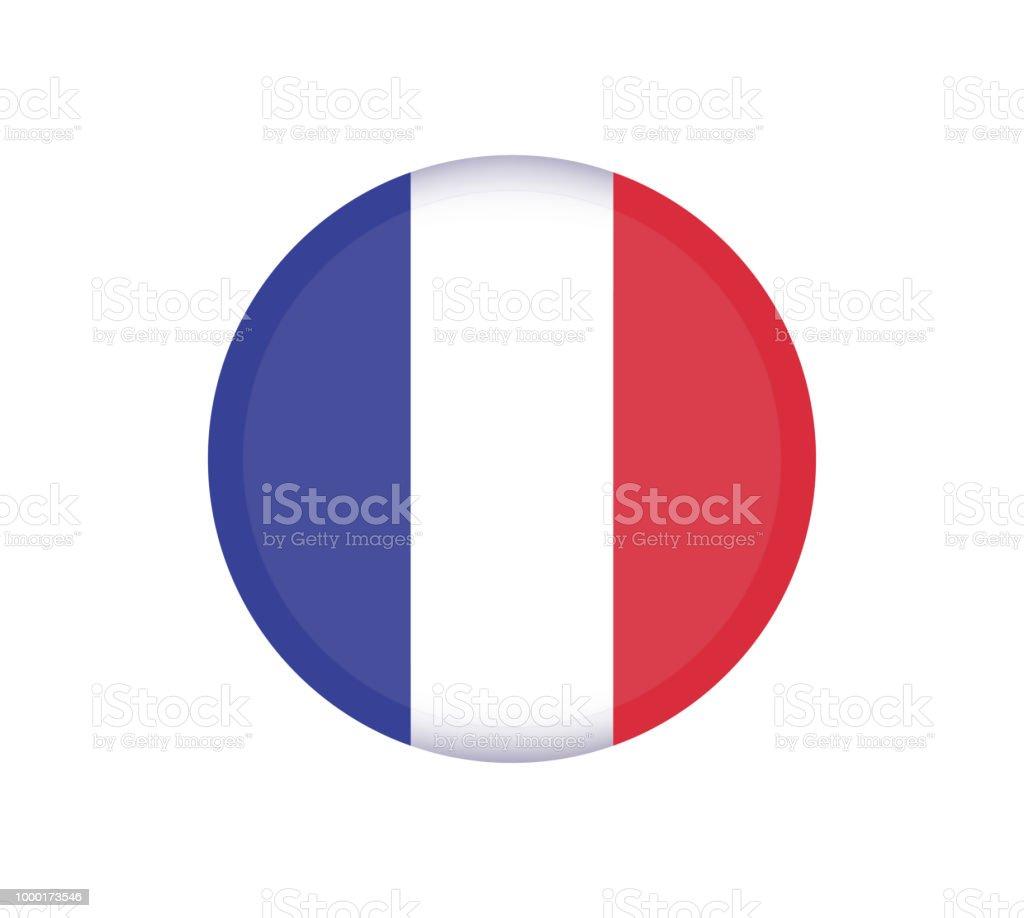 フランス国旗のボタンフランスの国旗はベクトル丸いアイコン イラスト