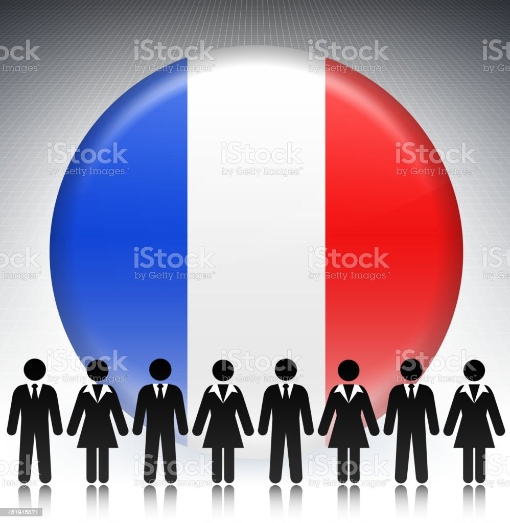 France Flag Button with Business Concept Stick Figures royalty-free stock vector art