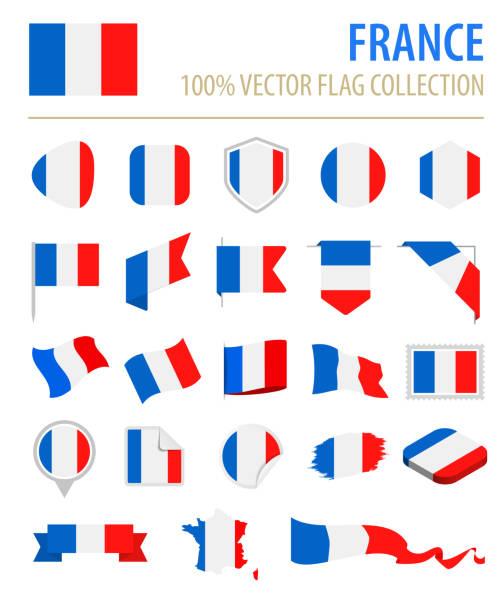 ilustraciones, imágenes clip art, dibujos animados e iconos de stock de francia - bandera icono vector plano conjunto - bandera francesa