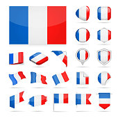France - Flag Icon Glossy Vector Set