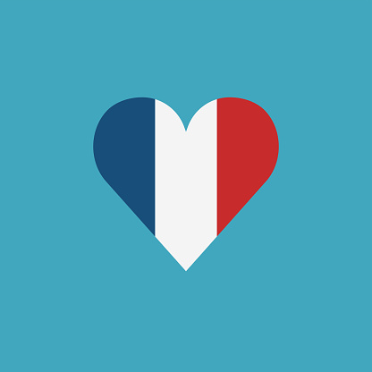 France flag icon in a heart shape in flat design