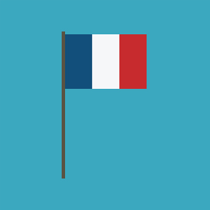 France flag icon in flat design