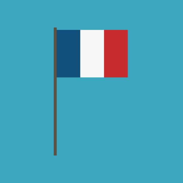 ilustraciones, imágenes clip art, dibujos animados e iconos de stock de icono de la bandera de francia en diseño plano - bandera francesa