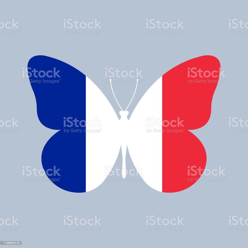 Frankreichflaggesymbol In Form Eines Schmetterlings
