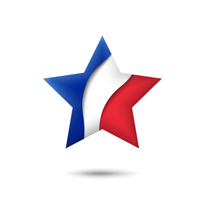 France flag icon in the shape of star. Waving in the wind. Abstract waving france flag. French tricolor. Paper cut style. Vector symbol, icon, button