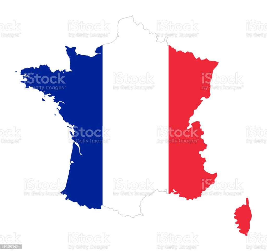 France flag in silhouette of the country vector art illustration