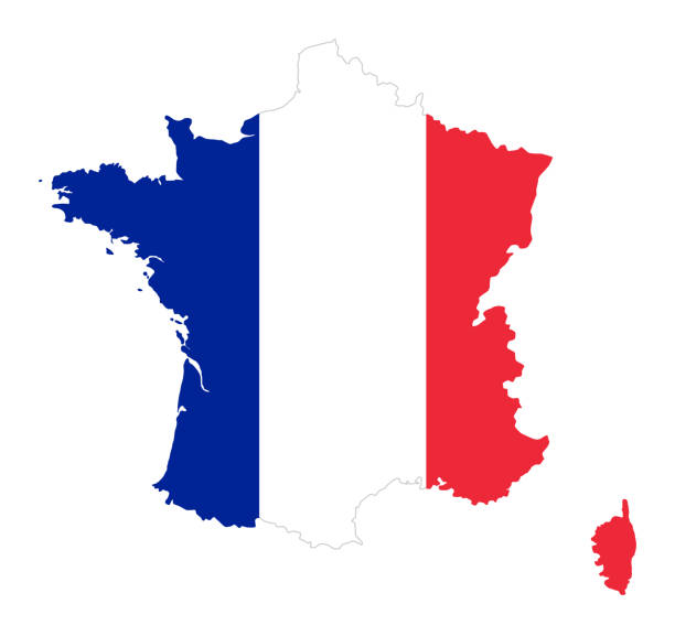 Frankreich-Flagge in der Silhouette des Landes – Vektorgrafik