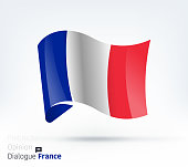 Vector waving flag illustration of France for international dialogue and conflict management.