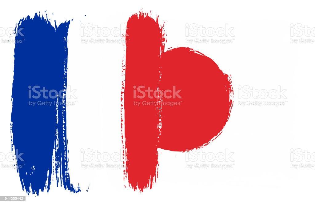 Fransa Bayrağı Ve Japonya Bayrağı Vektör El Yuvarlak Fırça Ile