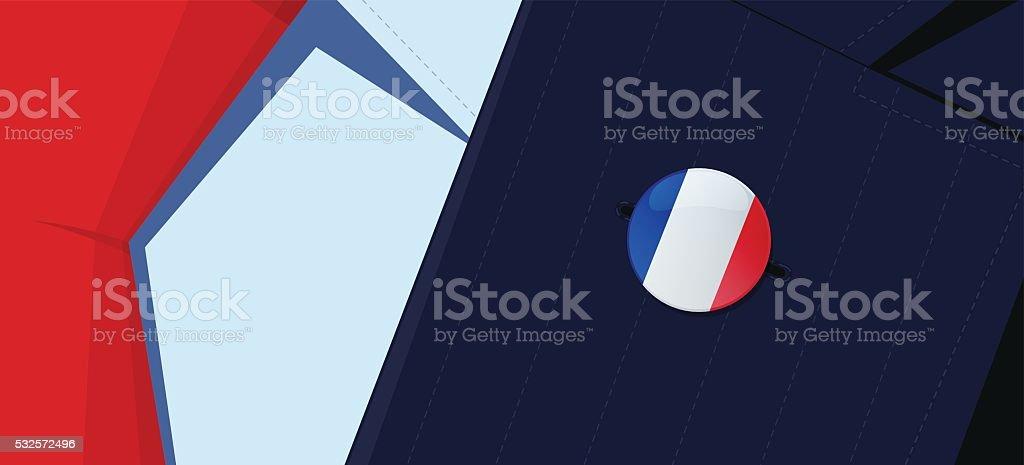 France flag lapel pin. vector art illustration