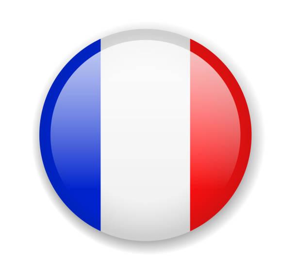 ilustraciones, imágenes clip art, dibujos animados e iconos de stock de bandera de francia. icono redondo brillante sobre un fondo blanco - bandera francesa