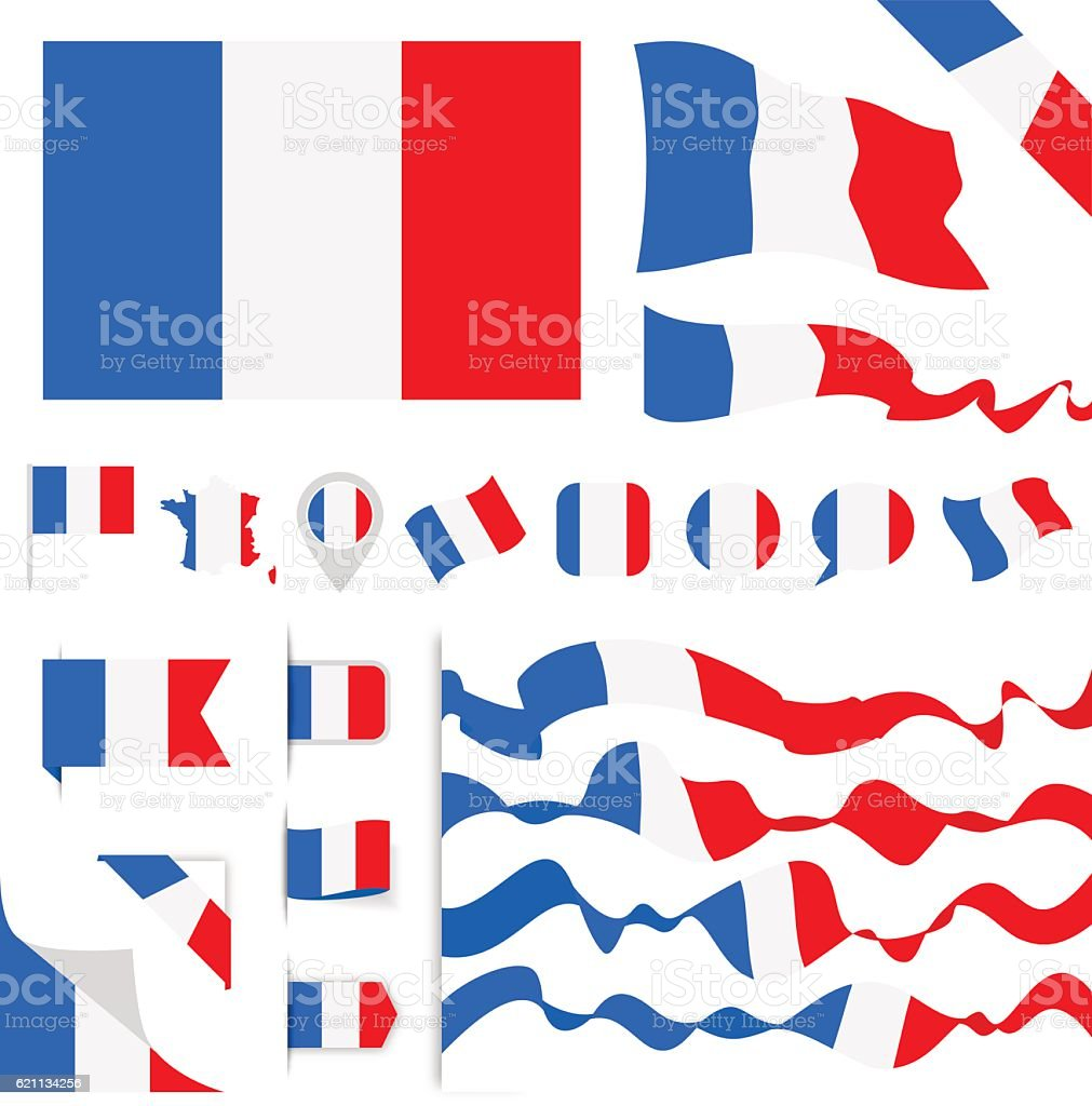 France Flag Set vector art illustration