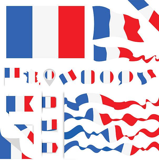 ilustraciones, imágenes clip art, dibujos animados e iconos de stock de france flag set - bandera francesa