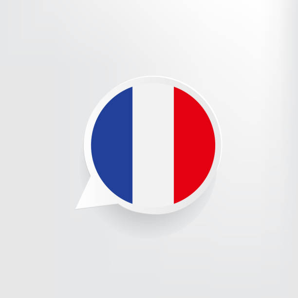 France Flag Speech Bubble French flag three dimensional speech bubble background. french language stock illustrations