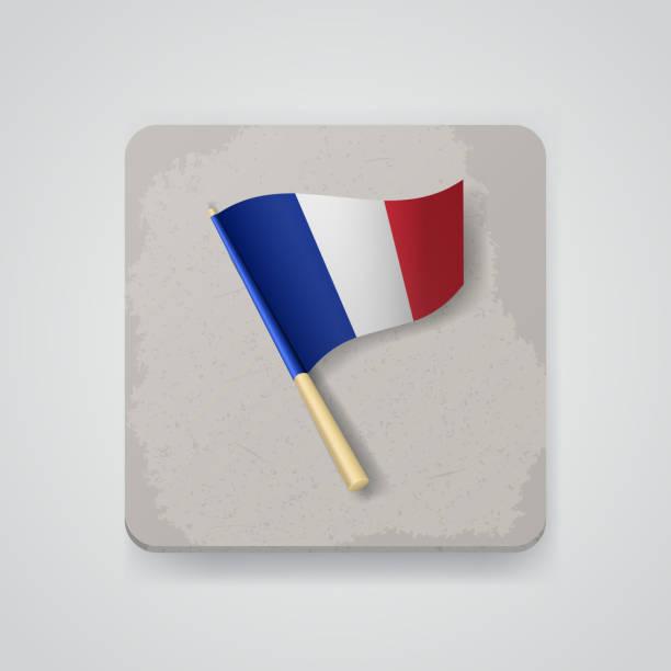フランスフラグ、ベクトルアイコン ベクターアートイラスト