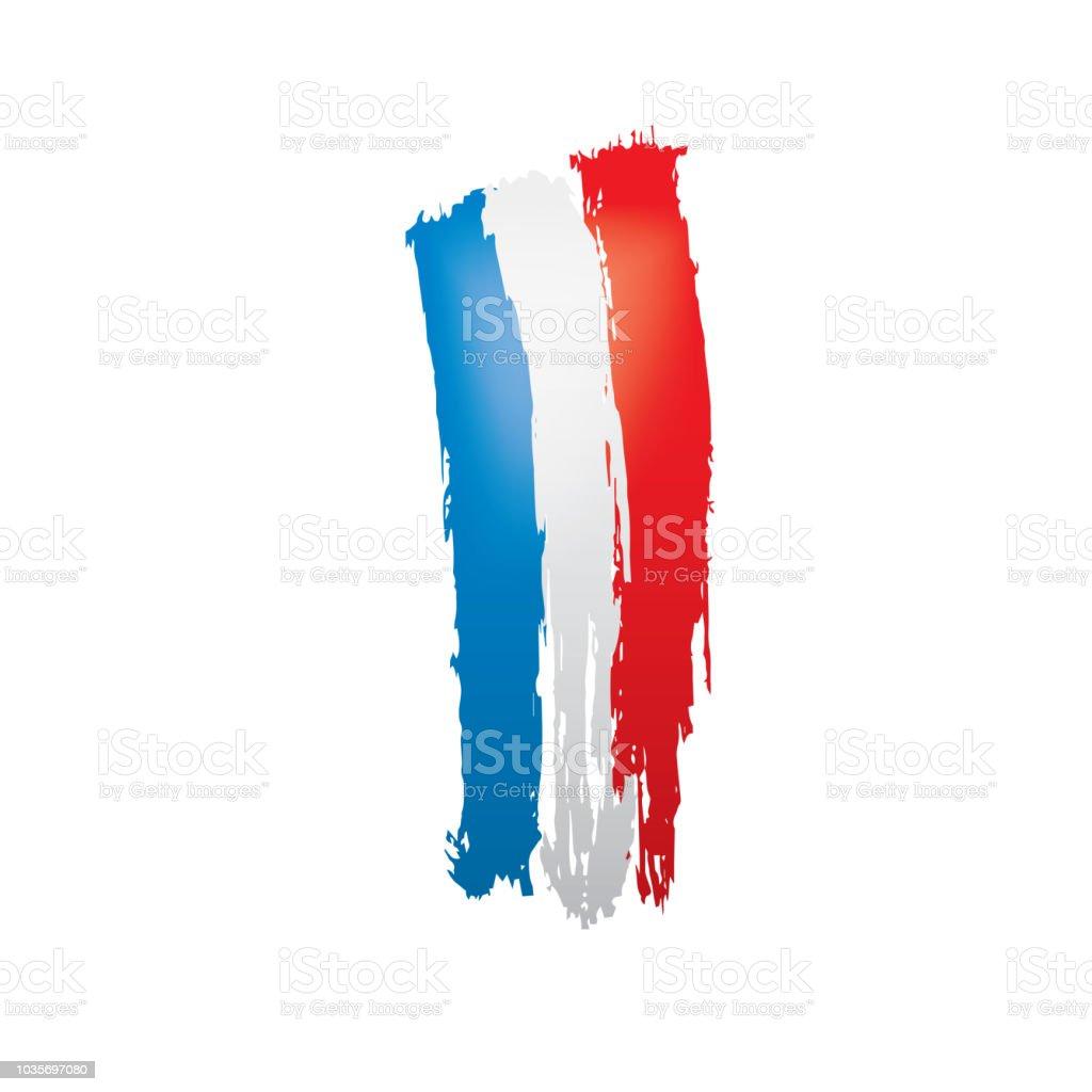 Fransa Bayrağı Beyaz Bir Arka Plan üzerinde Vektör çizim Stok Vektör