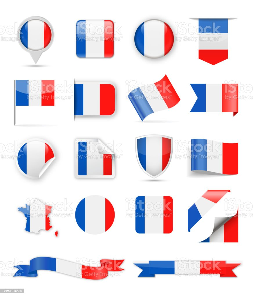 France Flag Vector Set vector art illustration