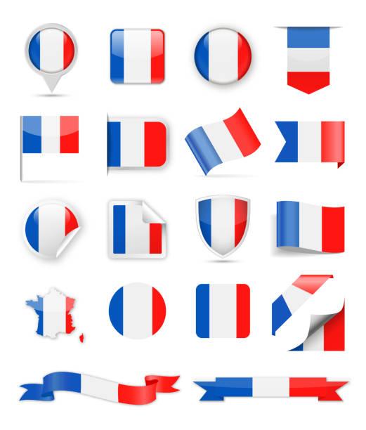 ilustraciones, imágenes clip art, dibujos animados e iconos de stock de conjunto de vector de bandera de francia - bandera francesa