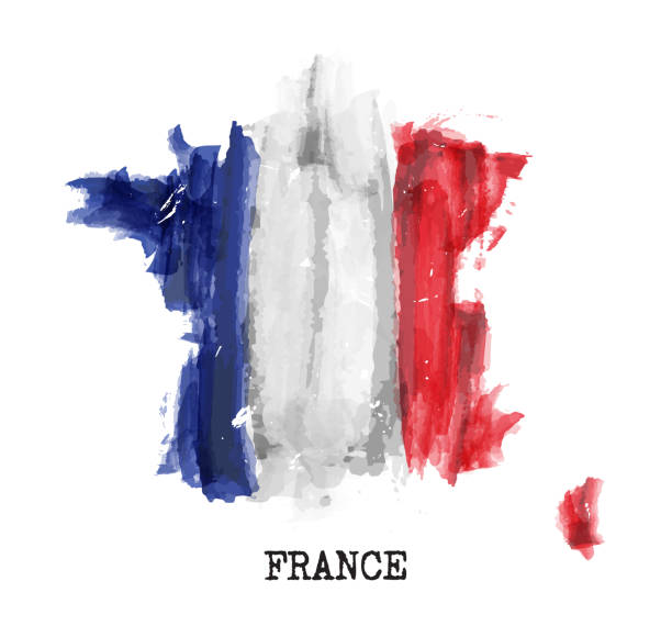 France flag watercolor painting design . Country map shape . Independence day concept ( 14 July 1789 ) . Vector . vector art illustration