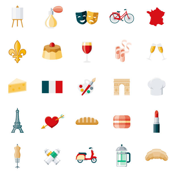 France Flat Design Icon Set A set of flat design styled France icons with a long side shadow. Color swatches are global so it's easy to edit and change the colors. File is built in the CMYK color space for optimal printing. french language stock illustrations