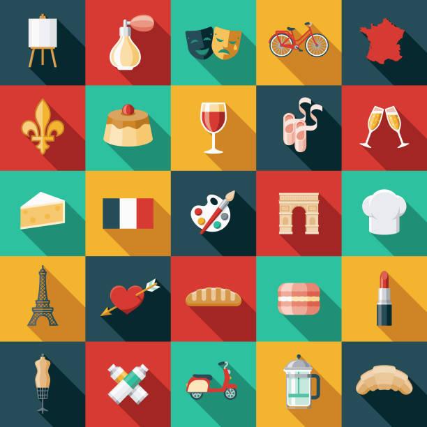 ilustrações, clipart, desenhos animados e ícones de conjunto de ícones de design plano de frança - moda parisiense