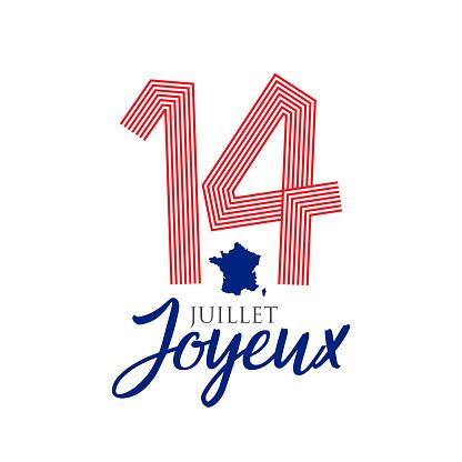 France. Fourteenth of July. Happy Bastille Day. stock illustration
