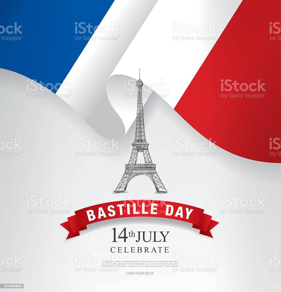 La France. Quatorzième de juillet. Heureux Bastille journée. - Illustration vectorielle