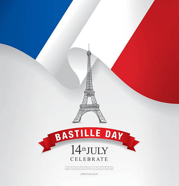 ilustraciones, imágenes clip art, dibujos animados e iconos de stock de francia. 14 de julio. feliz día de la bastilla. - bandera francesa