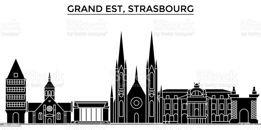 France, Grand Est, Strasbourg architecture vectorielle l'horizon de ville, paysage urbain avec les monuments, édifices, sites isolés sur fond de voyage - Illustration vectorielle