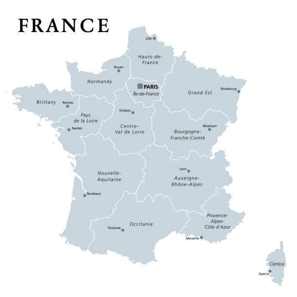 illustrations, cliparts, dessins animés et icônes de france, carte politique grise. régions de france métropolitaine - bretagne
