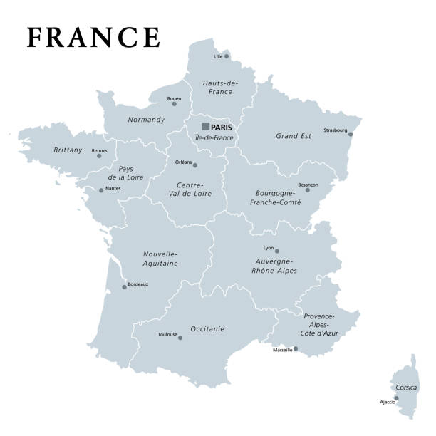 France, gray political map. Regions of Metropolitan France vector art illustration