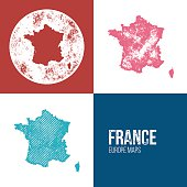 France Grunge Retro Map