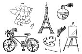 Part 1. French design elements drawn with charcoal pencil. Set of detailed icons with map, bicycle, paint etc. Black and white doodle vector illustration isolated on white background