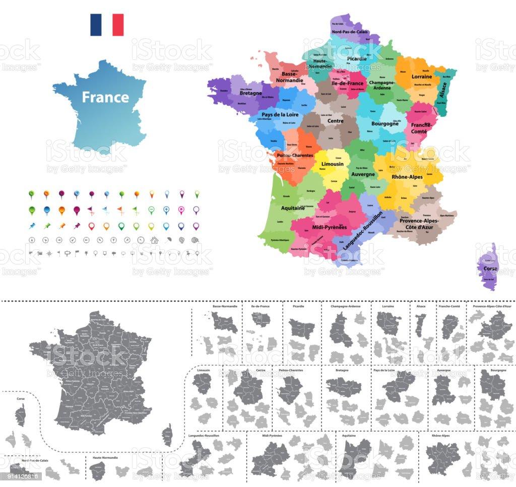France carte vectorielle détaillée haute coloré par régions. Toutes les couches detachabel et étiquetées. - Illustration vectorielle