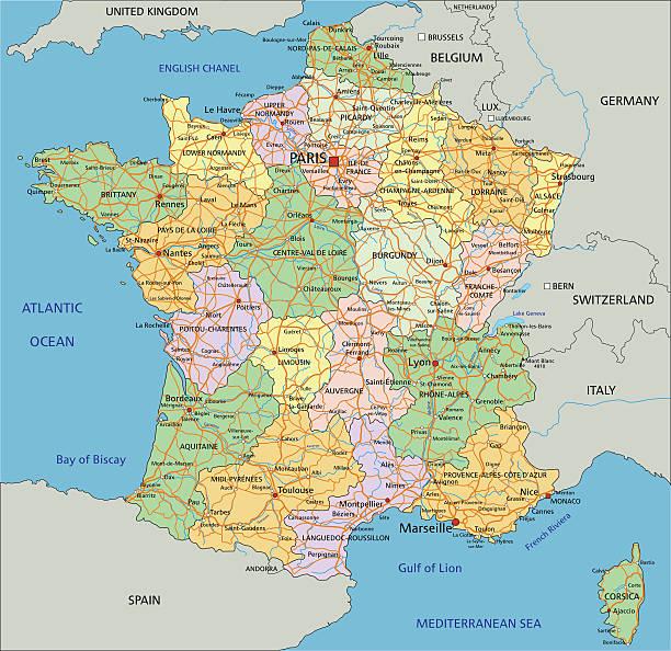 francja-bardzo szczegółowe, edytowalne polityczne mapy. - europa lokalizacja geograficzna stock illustrations